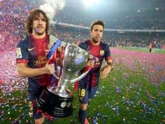 Barcelona celebrating La Liga title